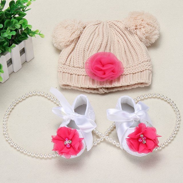 Flower Girls Baby shoes hat crochet photography props set,handmade boutique toddler girl boots,Crib baby booties prewalker shoes