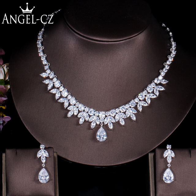Angelcz Luxury Wedding Drop Earrings Necklace White Gold Color Cubic Zirconia Diamante Bridal Jewelry Sets For