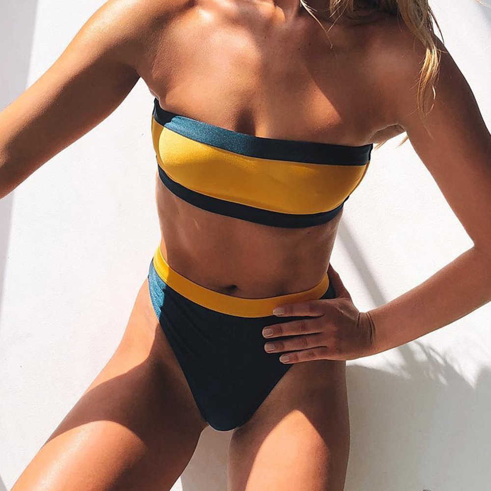 ZTVitality Women Sexy Yellow Blue Patchwork Bikini 2019 New Arrival Beach Biquini Strapless High Waist Swimwear Female Swimsuit
