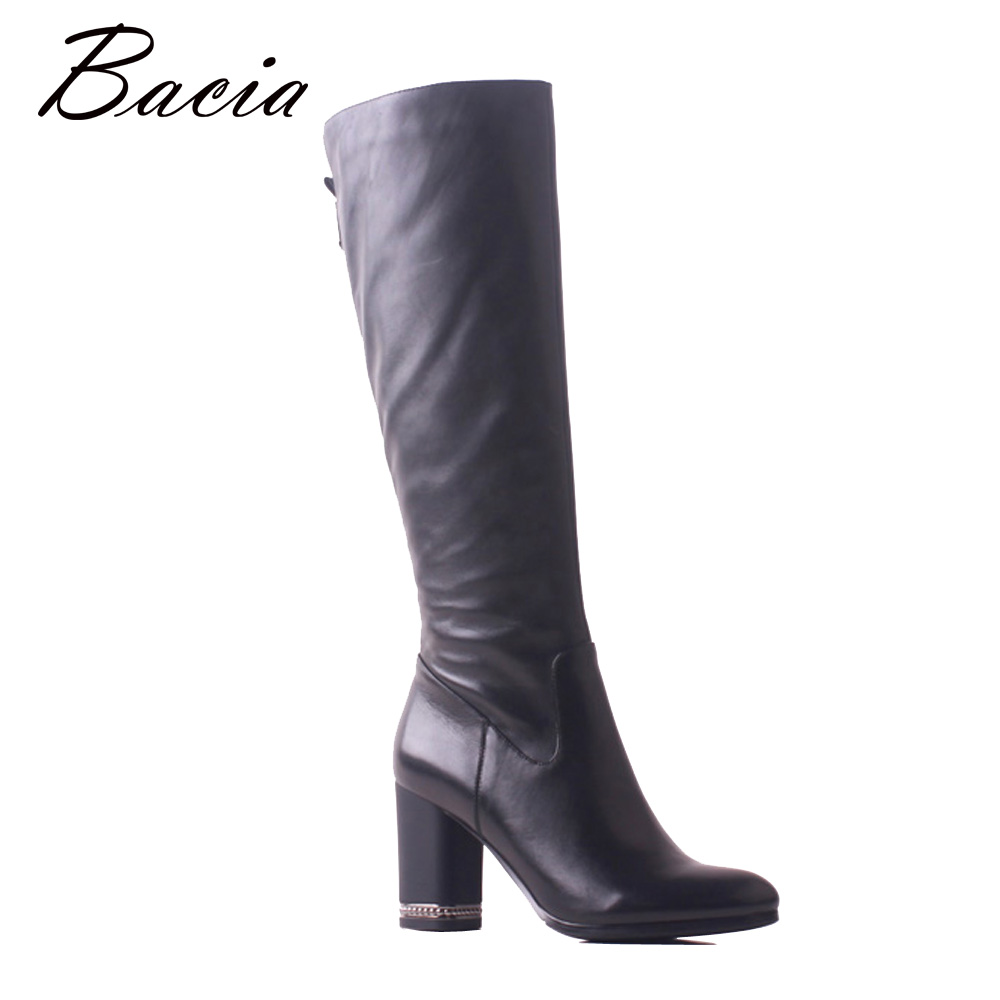 Bacia 2018 Winter Shoes Women Warm High Heel Genuine Leather Footwear Handmade Black Knee-High Long Boots Snow Botas SB118 bacia russian original design boots knee high platform boot genuine leather quality shoes handmade footwear women botas vc001