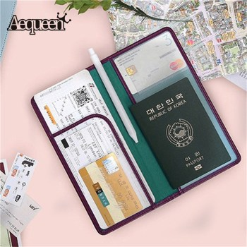 AEQUEEN Large Korean Passport Cover Brand Traveling Document ID Card Holder PU Leather Credit Cards Wallet Women Passport Holder