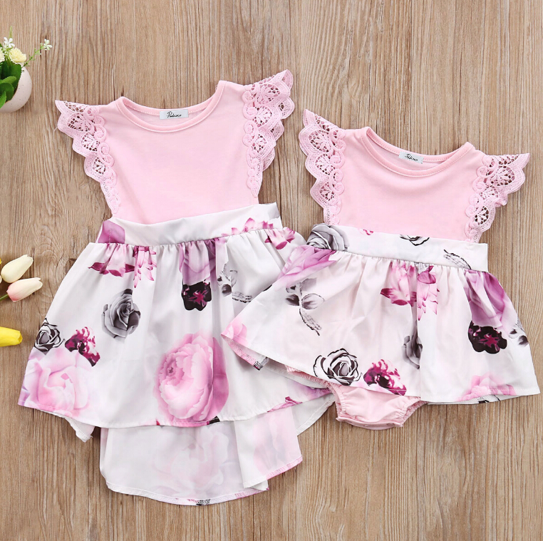 Floral Lace Fly Sleeve Rompers Dress Little Big Sisters Matching Outfits Toddler Kids Girl Newborn Baby Sisters Sundress Clothes