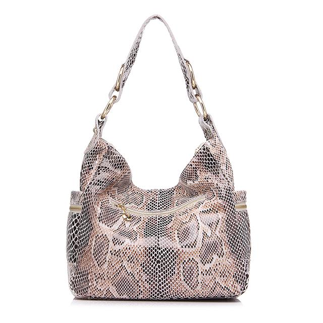 REALER brand women shoulder bag hobos serpentine genuine leather bag fashion handbags women famous brands 2017