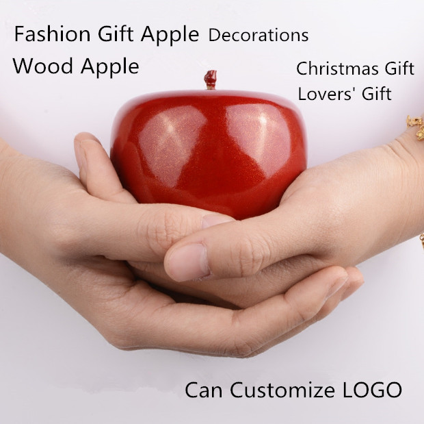 New Design Red/Gold Wood Gift Apple Decorations Fashion Lucky Christmas Apple Gift Wedding Lovers' Day Present T036