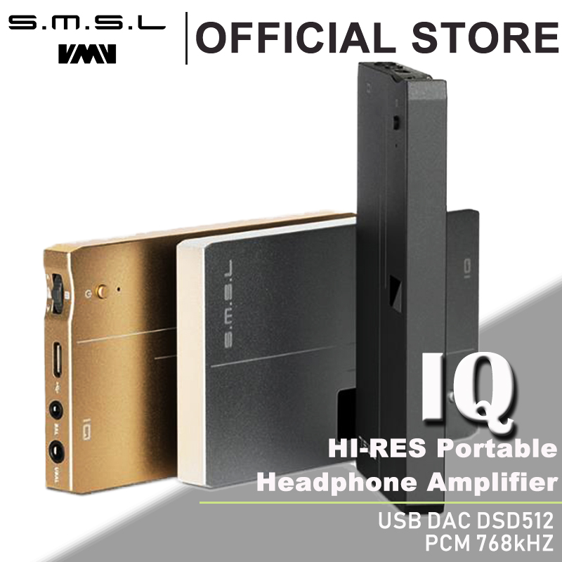 SMSL IQ USB HI-RES amplificador de auriculares portátil con DAC DSD512 PCM 768 kHz construido en batería recargable 2,5mm y 3,5mm salida