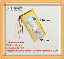 5 проводной Аккумулятор для планшета 3,7 в 4100 мАч 4055120, полимерный литий ионный/литий ионный аккумулятор для планшетного ПК