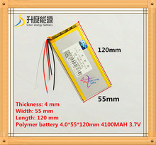 5 wire The tablet battery 3.7V 4100mAH 4055120 Polymer lithium ion / Li ion battery for tablet pc