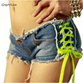 Blue pole lace up dancing Sexy Women's straps Shorts feminino Jeans denim Low Rise Waist Clubwear jeans cortos mujer DK068