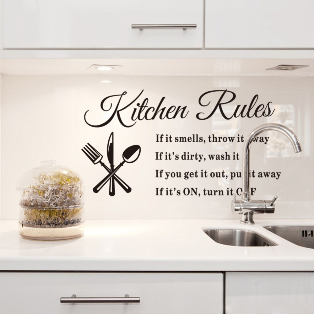 black kitchen wall decor diy removable wall stickers kitchen rules decal home accessories beautiful pattern decoration - Kitchen Wall Decor