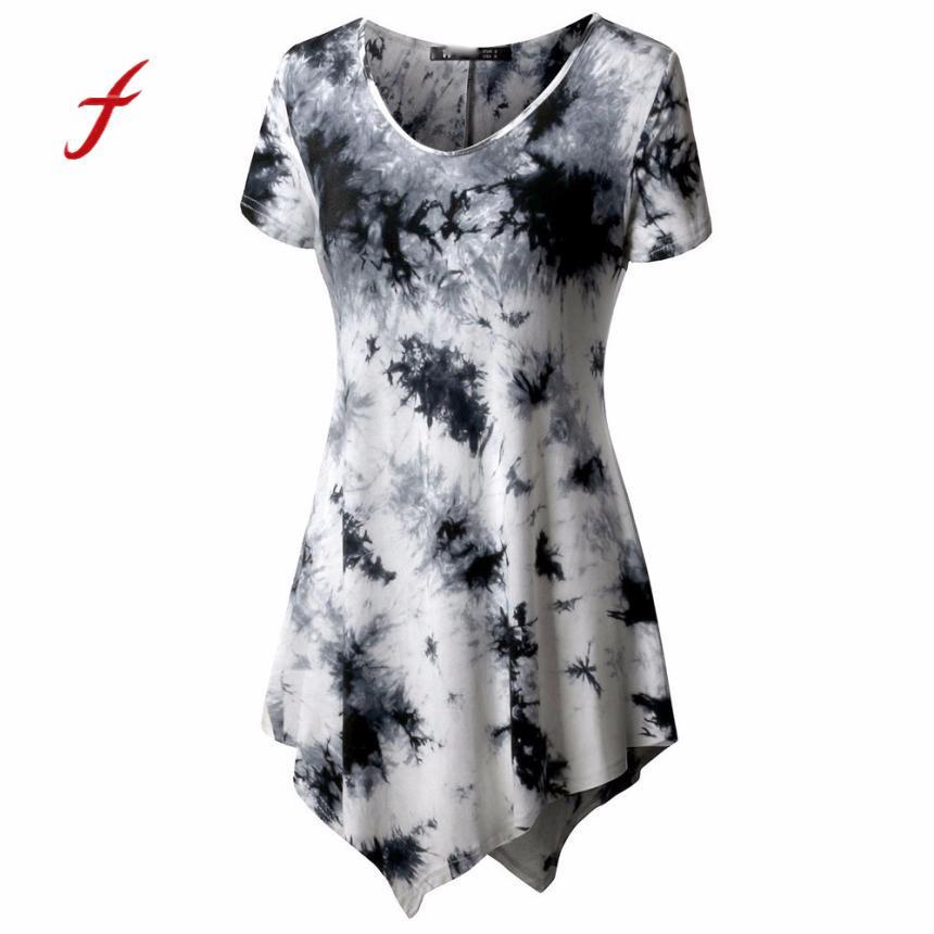 Casual t shirt women short sleeve t-shirt irregular print long blusas ladies o-neck tops poleras de mujer moda