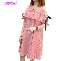 Large size Dress Summer Women's New Fashion Bare shoulder Long section Strip Loose Dress Pregnant Women dress Plus size 5XL B039