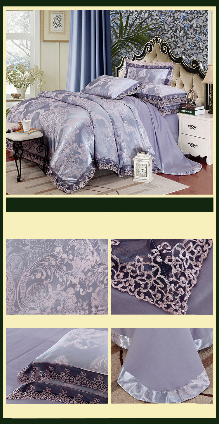 New Luxury Embroidery Tinsel Satin Silk Jacquard Bedding Set, Queen, King Size, 4pcs/6pcs 22
