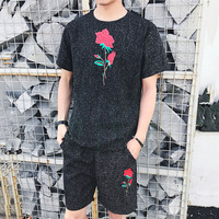 2 PCS Mens Flowers Print Suit Set Summer Style Short Sleeve T Shirt Shorts Male Fashion