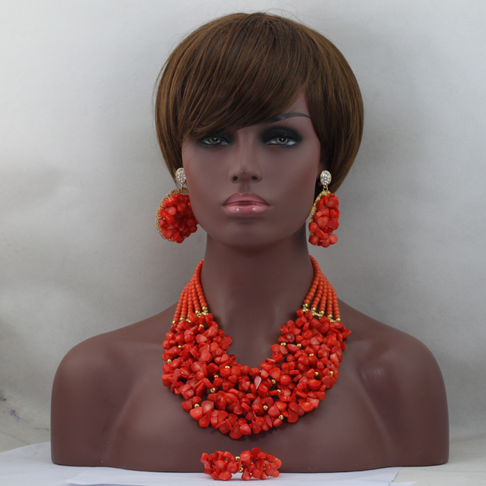 Nigerian Bridal Jewelry Set African Coral Bib Jewelry Necklace Earrings Set Quality Women Coral Jewelry Free Shipping CNR618Nigerian Bridal Jewelry Set African Coral Bib Jewelry Necklace Earrings Set Quality Women Coral Jewelry Free Shipping CNR618