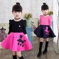 Ropa para niños de primavera 2017 nuevas muchachas vestido de la muchacha de manga larga de algodón vestido de princesa