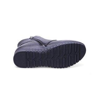 Image 5 - GKTINOO الشتاء النساء أحذية امرأة جلد طبيعي شقة حذاء من الجلد الإناث الدانتيل متابعة الدافئة الصوف الثلوج أحذية النساء الأحذية