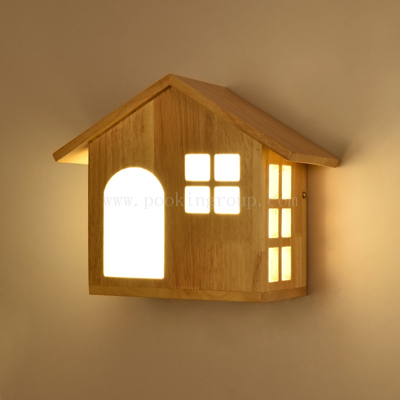 где купить Creative Carton Lovely Hand Crafted Original Wood  House Three Color Temperature Led Wall Lamp For Children's Room  Living Room дешево