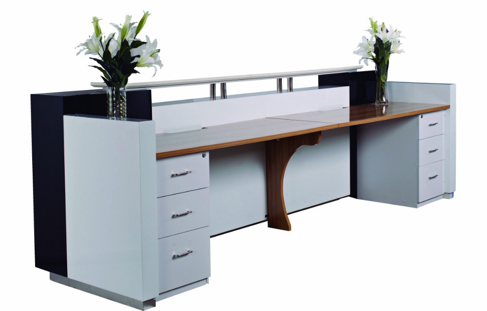 Elegant 3.2meter (10.5 Ft)OEM Hot Sale White Paint Cash Register Counter Furniture  With Walnut Table Top #QT3209 In Reception Desks From Furniture On  Aliexpress.com ...