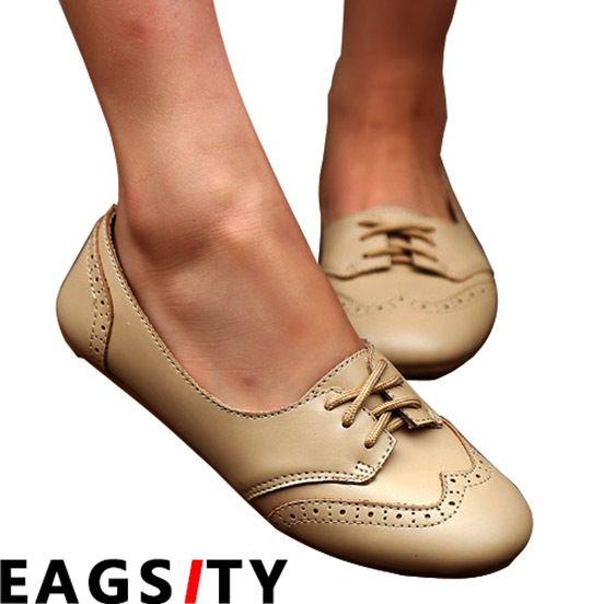 EAGSITY nude color oxford brogue shoes for women flat lace up round toe  office career ladies dress comfortable c3c9ff59093