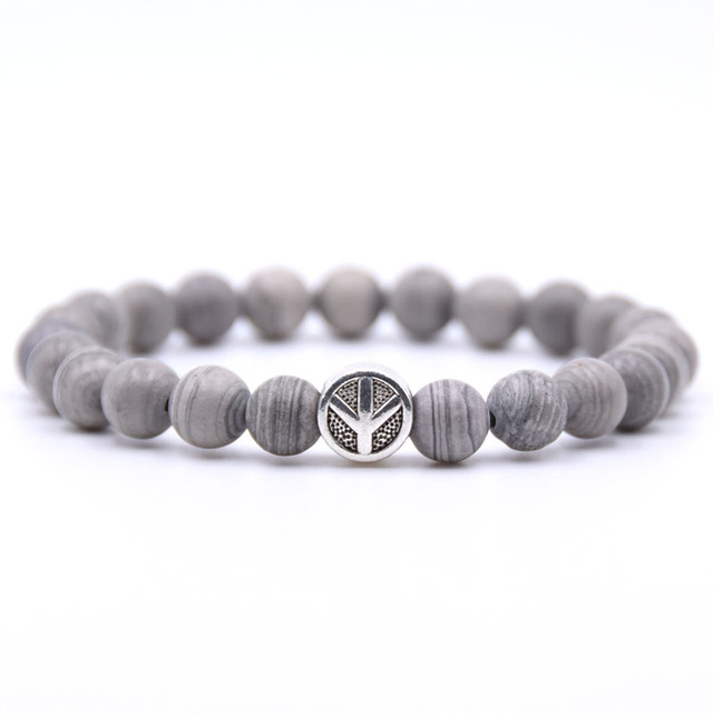 KANGKANG Peace sign Bracelet Classic Natural Stone 18 styles Bead Bracelets for
