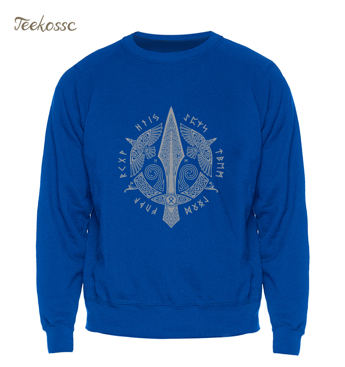 Odin Vikings Sweatshirt Men Viking Berserker Stylish Hoodie Cool Hip Hop Crewneck Sweatshirts Winter Autumn Blue Sportswear Mens