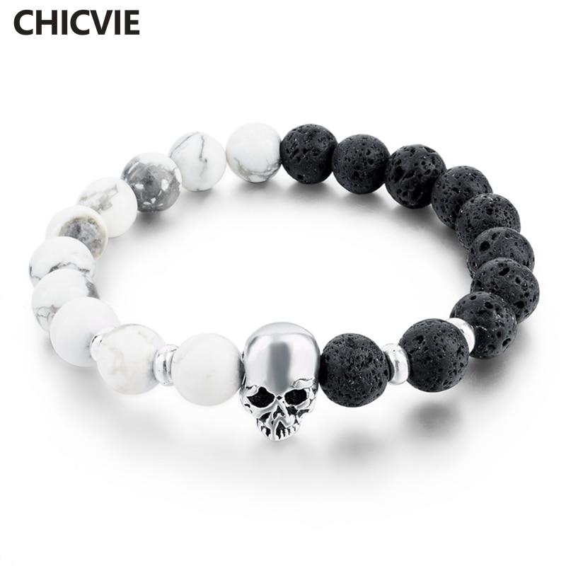 CHICVIE Natural Stone Silver Color Skull Bracelets & Bangless