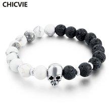 Женский браслет с натуральным камнем chicvie серебристый украшением