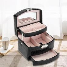 New Faux Leather Three-layer Jewelry Box Girls Jewelry Organizer Mirrored Mini Travel Case Lockable Black~
