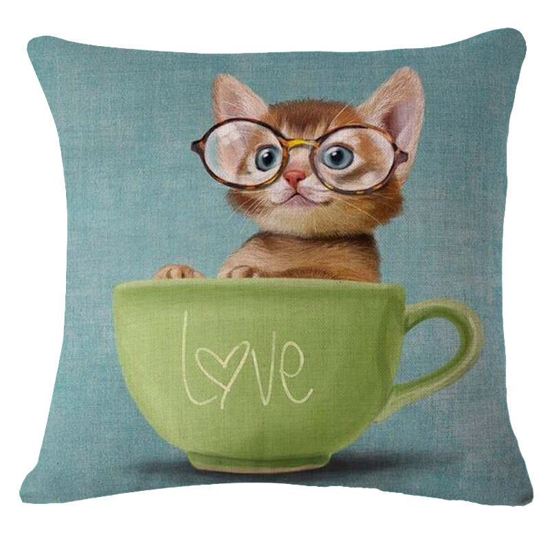 Square 18 Animal Pillows Space Cat Cushion Cover Linen Black Pillow Cover Pillow Case Home Decor Customized Drop Shipping