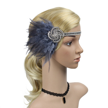 Vintage Feather 1920s Flapper Great Gatsby Headband Elegant Roaring 20s Bridal Headpiece Flapper Girl Costume Hair Accessories headpiece