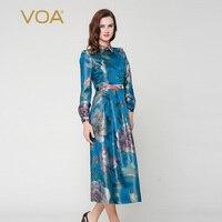 VOA 2018 осеннее винтажное платье в китайском стиле, шелковое жаккардовое платье больших размеров, женское синее тонкое платье туника с принто