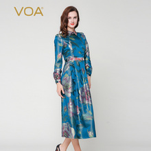 VOA Women's Blue Long Sleeve Thick Shirt Dress Maxi A3923