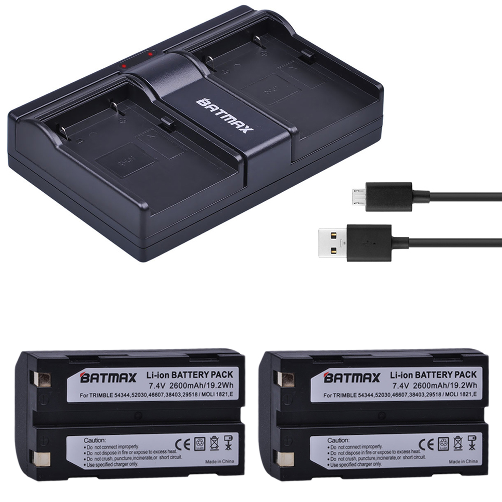 2Pcs <font><b>7.4V</b></font> <font><b>2600mAh</b></font> <font><b>Battery</b></font> for Trimble 54344, 92600 <font><b>Battery</b></font> + Dual USB Charger for Trimble 5700 5800,MT1000,R7,R8 GPS Receiver image