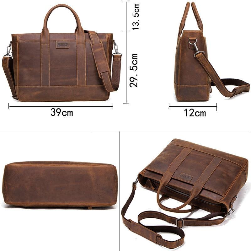 Luxury Brand Genuine Leather Men Briefcases Designer Handmade Cowhide Leather Briefcase Laptop Vintage Crossbody Shoulder Bag