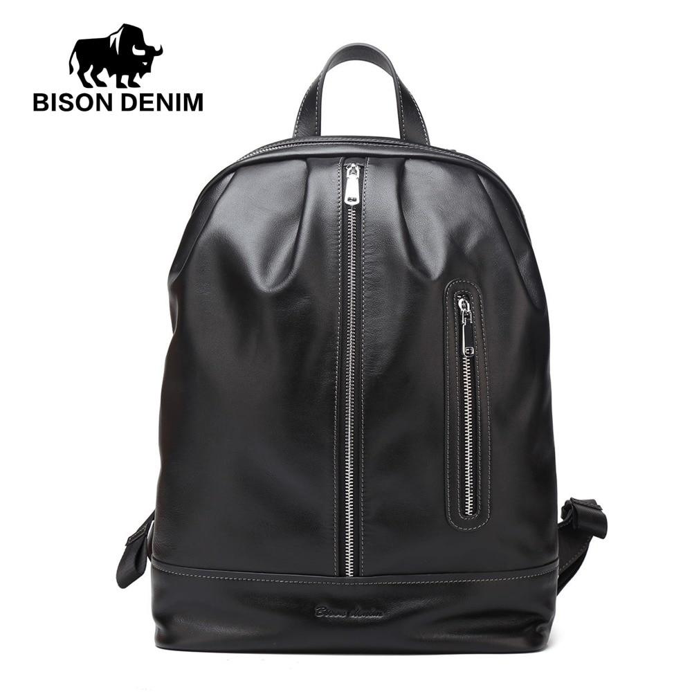 BISON DENIM brand men backpack genuine leather business male travel laptop backpack сумка bison denim n1157 bis0n denim