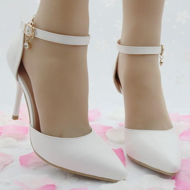 9.5 cm Apontou mulheres bombas dos saltos altos finos para as mulheres apontou sandálias de dedo mulheres bombas sapatos de casamento salto fino vestido de festa sapatos