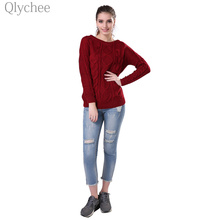 Qlychee Vintage Women Knitted Sweater Jacquard Spring Autumn Warm Lady Jumper Long Sleeve Loose Female Sweater