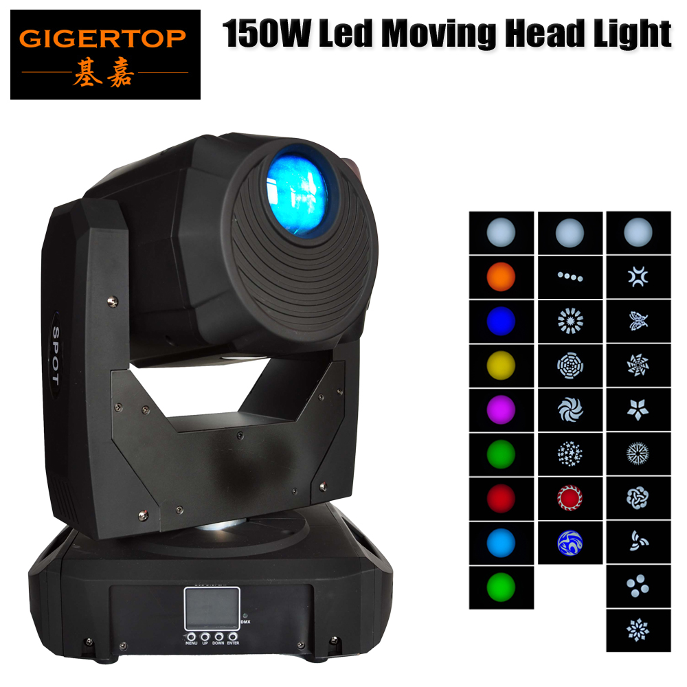 TIPTOP STAGE LIGHT 150W Moving Head Light 8 Gobo Rainbow 8 Colors 16/14 Channels LED Stage Gobo Pattern Lamp for Disco KTV Club