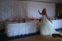 Luxury Pure White starlit Wedding Backdrop 10ft x 20ft Stage Curtain with LED light