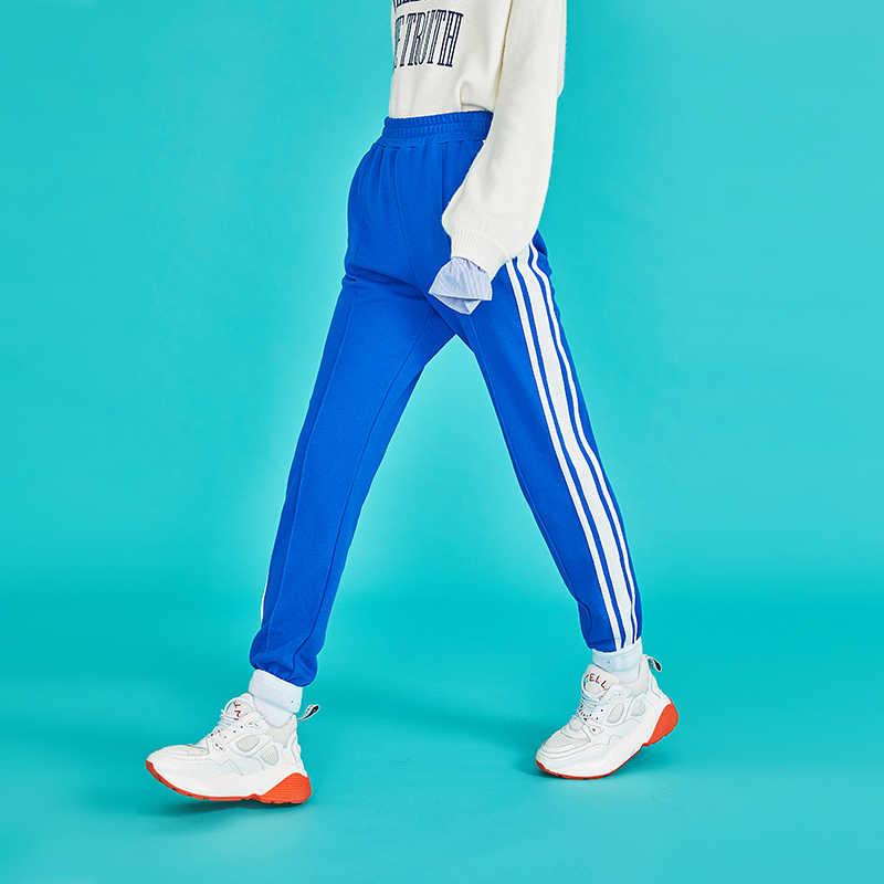 Toyouth sonbahar Patchwork çizgili harem pantolon gevşek ince kadın Sweatpants günlük pantolon Pantalon Mujer