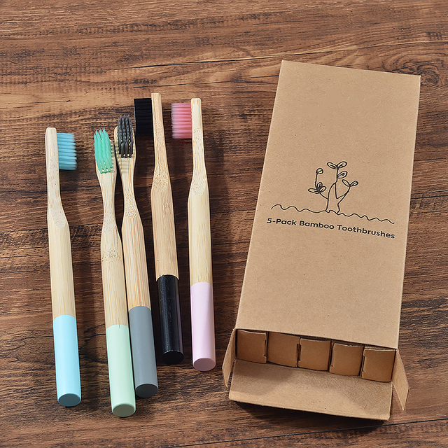5 pack Adult Bamboo Toothbrushes Soft Bristles eco friendly cepillo dientes bambu Oral Care Toothbrush clareador de dente 3