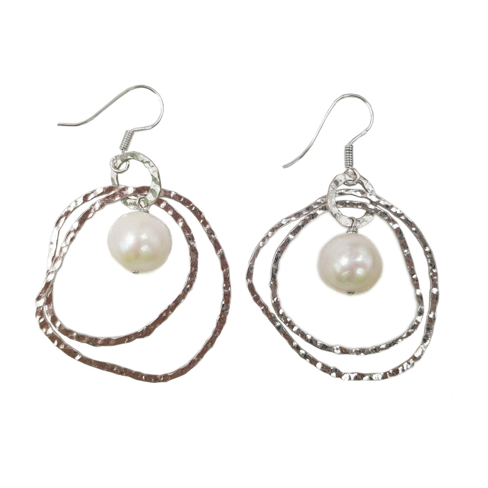 цена Lii Ji Grade AA Freshwater Pearl 925 Sterling Silver Italy Style Circle Dangle Earrings