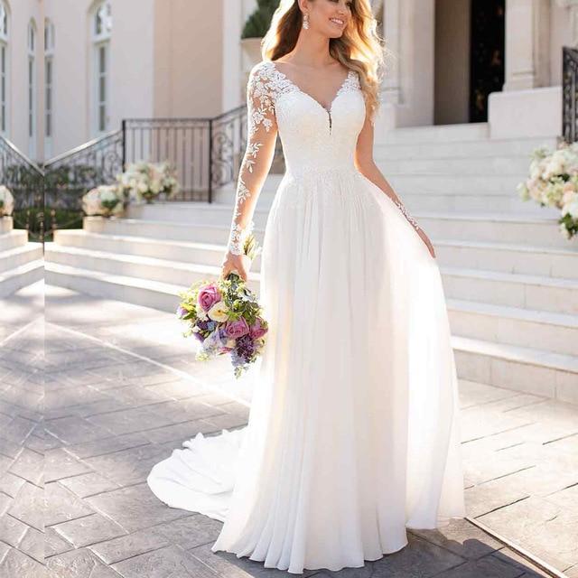 2019 Beach Long Sleeve V Neck Wedding Dress Top Lace Applique Chiffon vestido de noiva boho