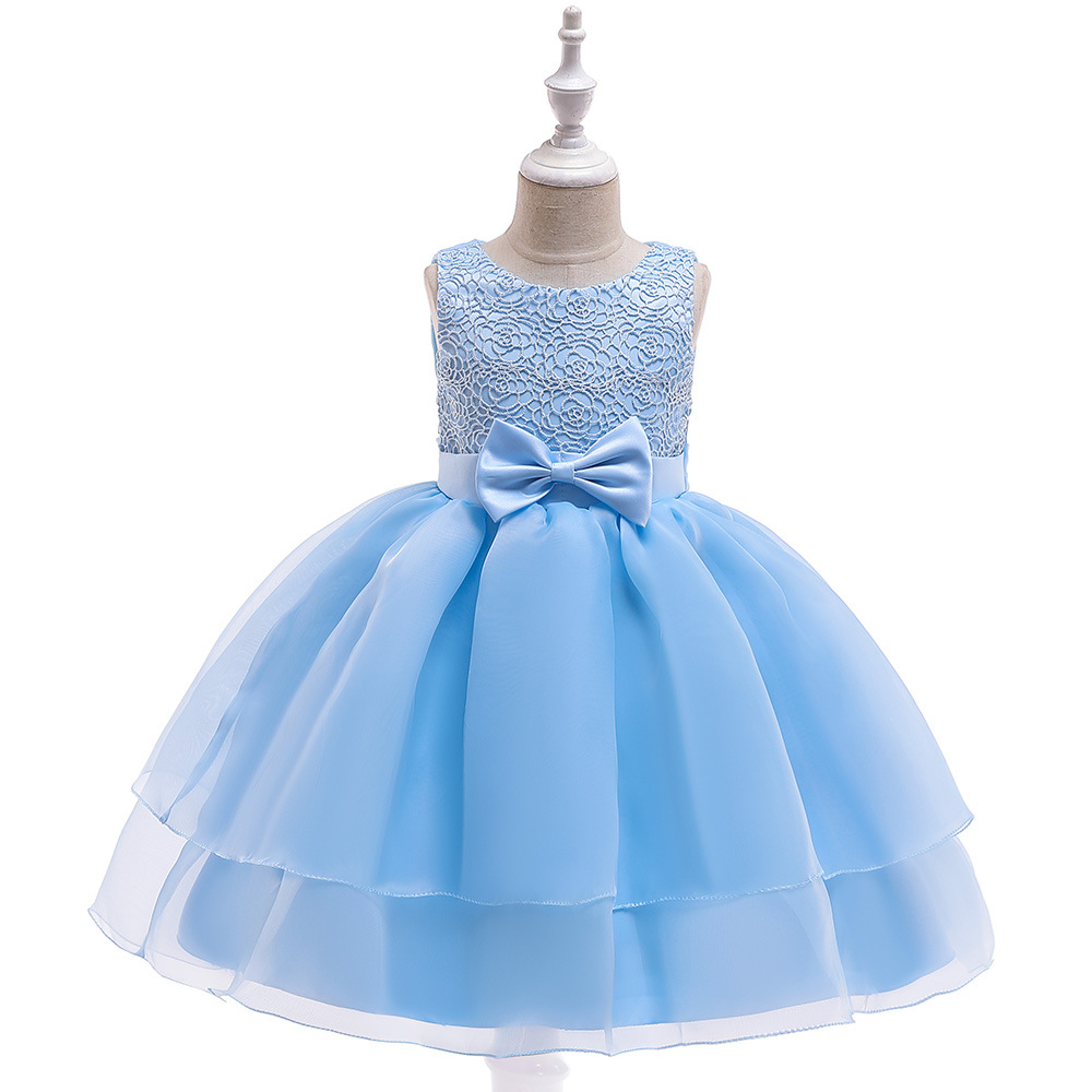 New Ballgown Sky Blue Flower Girls Dress for Formal Occasion Tutu Gowns Puffy Girls Dresses Party Princess Tulle Dresses