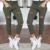 Manera de Las Mujeres Del Brazo de Color Verde Casual Flaco Stretch Slim Fit Pantalones Lápiz Agujeros Pantalones Leggings Nueva
