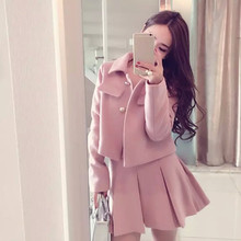 M suit skirt 2019 spring and autumn furry casual pink small fragrance fashion slim two-piece