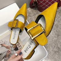 c336d9db08 2019 Sexy Mules Shoes Woman Slippers Outdoor Buckle Flats Ladies Slippers  Women Shoes Black Pointed Toe