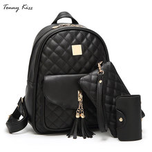 Tonny Kizz set backpack women bagpack diamond lattice female multifunctional lady hand bag mochila feminina with clutch