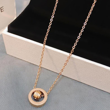 New Necklace Pendant Roman Letters two-sided Shell Pendant Necklace Woman Fashion Jewelry Design Stainless Steel Chain Rose Gold цены онлайн