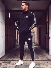 YEMEKE スポーツスーツランニング男性服セットジムスポーツウェアトラックスーツフィットネスボディービル男性パーカー + パンツスーツジョガー男性セット